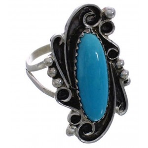 Silver Turquoise Navajo Indian Jewelry Ring Size 7-1/4 PX25139