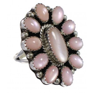 Pink Shell Native American Jewelry Silver Ring Size 7-3/4 EX30000