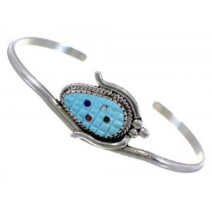 Zuni Indian Jewelry Sterling Silver Multicolor Corn Bracelet NS49135