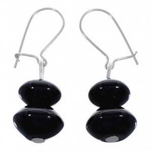 Onyx Native American Navajo Indian Silver Bead Earrings DS44127