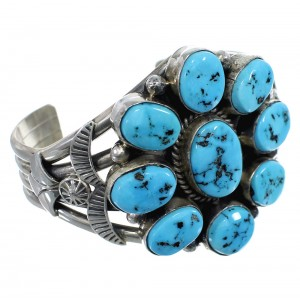 American Indian Sleeping Beauty Turquoise Silver Cuff Bracelet EX45682
