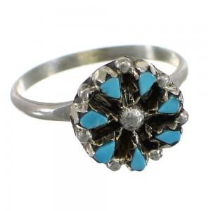 Turquoise Flower American Indian Silver Ring Size 7-1/2 EX56872