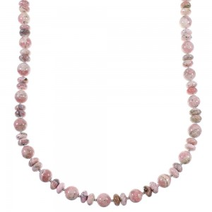 Native American Rhodochrosite And Sterling Silver Bead Necklace WX59784