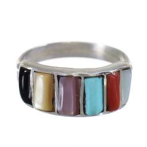 Multicolor And Sterling Silver Zuni Ring Size 7 SX110170