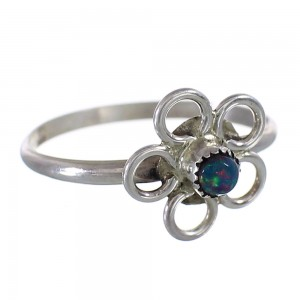 Black Opal Navajo Authentic Sterling Silver Flower Ring Size 6-1/4 AX100654