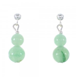 Aventurine Genuine Sterling Silver Navajo Bead Post Dangle Earrings AX95918