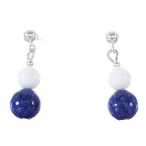 Lapis And White Agate Silver Native American Bead Post Dangle Earrings AX95920