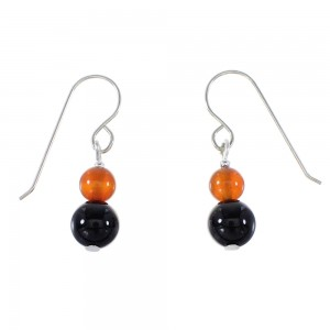 Navajo Carnelian And Onyx Silver Bead Hook Dangle Earrings AX95936