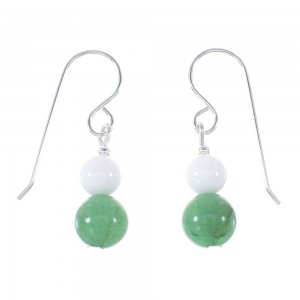 Sterling Silver Navajo White Agate And Aventurine Bead Hook Dangle Earrings AX95952