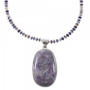 Purple Agate And Purple Oyster Shell Navajo Authentic Sterling Silver Bead Necklace Set AX96121