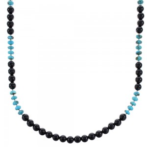 Turquoise And Onyx Bead Sterling Silver Native American Necklace RX96114