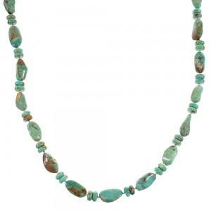 Authentic Sterling Silver Navajo Turquoise Bead Necklace AX96225