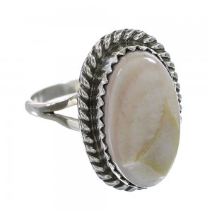 Silver Pink Shell Navajo Jewelry Ring Size 6-1/4 AX96409