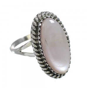 Genuine Sterling Silver American Indian Pink Shell Ring Size 6-1/4 AX96421