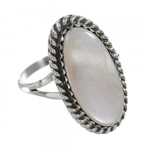 Pink Shell Sterling Silver American Indian Ring Size 6-3/4 AX96423