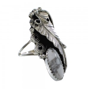 Authentic Sterling Silver Leaf American Indian Howlite Ring Size 6 AX96964