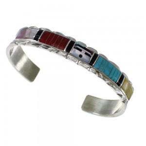 Multicolor Inlay Sterling Silver Sunface Zuni Don Dewa Cuff Bracelet AX97482