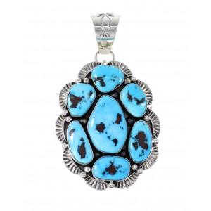 Sleeping Beauty Turquoise Genuine Sterling Silver Navajo Pendant AX97648