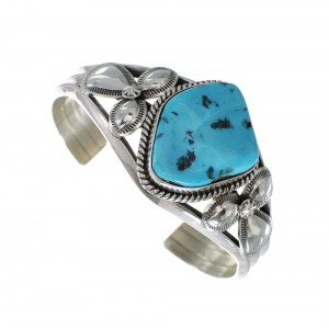 Navajo Indian Sleeping Beauty Turquoise Sterling Silver Jewelry Cuff Bracelet RX97759