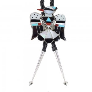 Authentic Sterling Silver Multicolor Inlay Zuni Thunderbird Bolo Tie RX97974
