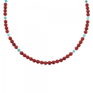 Turquoise And Coral Navajo Silver Bead Necklace AX98202