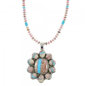 Navajo Sterling Silver Ribbon Rock Turquoise And Rhodochrosite Bead Necklace Set AX98345