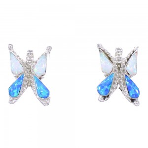 Zuni Indian Sterling Silver Blue And White Opal Butterfly Post Earrings RX98986