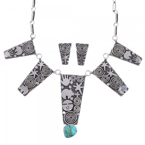 Turquoise Sterling Silver Navajo Water Wave And Bear Link Necklace Earrings Set AX99025