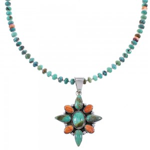 Turquoise And Oyster Shell Authentic Sterling Silver Navajo Bead Necklace Set AX99042