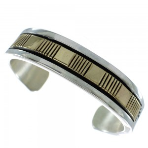 Genuine Sterling Silver And 14 Karat Gold Navajo Cuff Bracelet AX99211