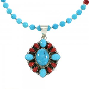 Turquoise Coral Sterling Silver Native American Bead Necklace Set RX99798
