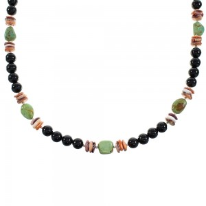 Multicolor Genuine Sterling Silver Native American Bead Necklace AX99912