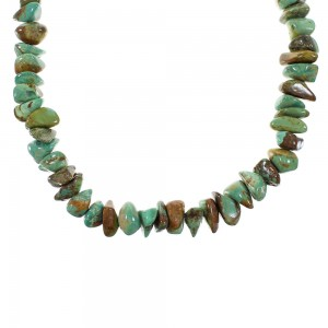 Silver Turquoise Native American Bead Necklace AX99929