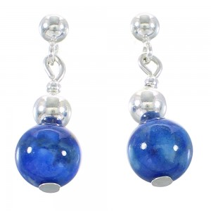 Denim Lapis Silver Navajo Bead Post Dangle Earrings AX99980