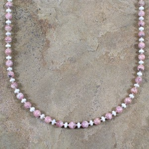 Native American Sterling Silver Rhodochrosite And Botswana Bead Necklace RX100138