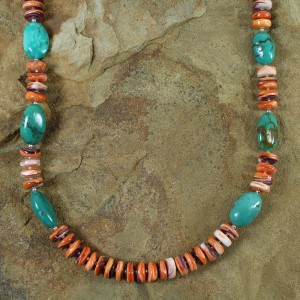 Navajo Oyster Shell Turquoise Sterling Silver Bead Necklace AX100229