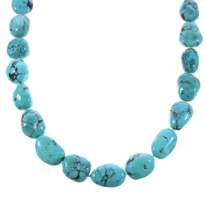 Genuine Sterling Silver And Turquoise Navajo Bead Necklace AX100315