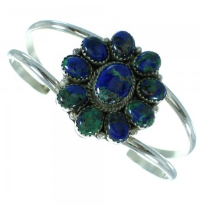 Native American Azurite Genuine Sterling Silver Bracelet RX100738