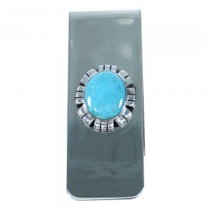 Native American Authentic Sterling Silver And Turquoise Money Clip RX100797