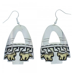 Sterling Silver 12 Karat Gold Filled Horse Tommy And Rose Singer Navajo Hook Dangle Earrings RX101006