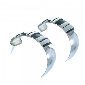 Sterling Silver Navajo Tommy And Rose Singer Post Hoop Earrings AX101171