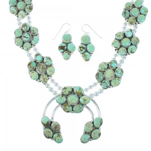 #8 Turquoise Sterling Silver Native American Squash Blossom Necklace Set RX101902