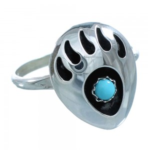 Sterling Silver Turquoise Bear Paw American Indian Ring Size 7-3/4 RX117390