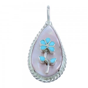 Turquoise And Pink Shell Zuni Genuine Sterling Silver Flower Pendant AX101870