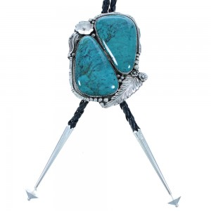 Turquoise And Genuine Sterling Silver Flower And Leaf Navajo Indian Bolo Tie RX102096