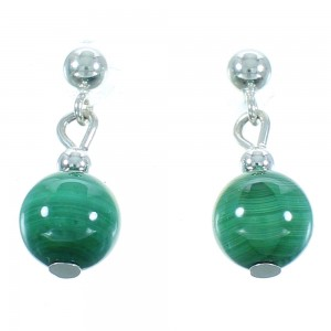 Malachite Silver Navajo Bead Post Dangle Earrings AX102182