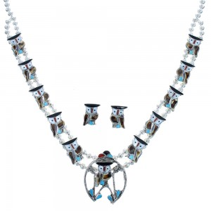 Multicolor Inlay Owl Sterling Silver Zuni Squash Blossom Necklace Set AX102345