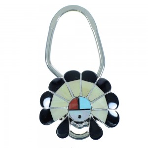 Sterling Silver Zuni Multicolor Inlay Chief Headdress Key Chain AX102427