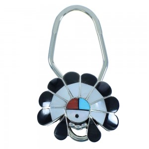 Sterling Silver Zuni Multicolor Chief Headdress Key Chain AX102428