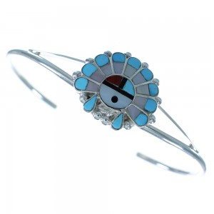 Zuni Multicolor Sterling Silver Chief Headdress Bracelet AX102510